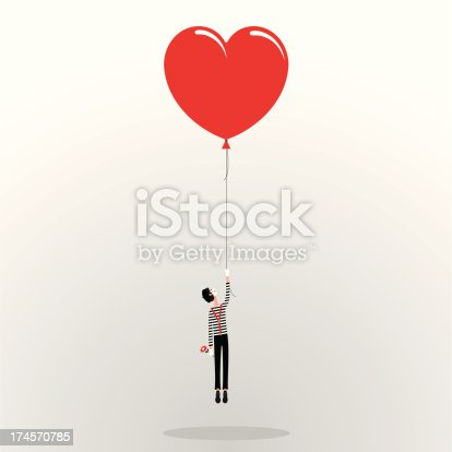 istock mime and love flying heart balloon illustration vector 174570785