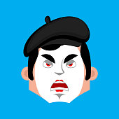 Mime angry emotion avatar. pantomime evil emoji. mimic face. Vector illustration