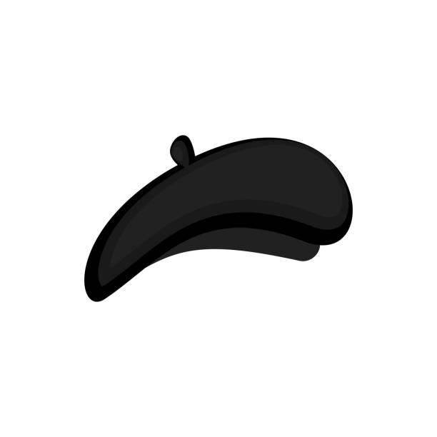 bildbanksillustrationer, clip art samt tecknat material och ikoner med mime svart basker isolerade. härma cap. vektorillustration - hatt