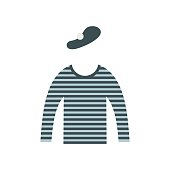 Mime costume icon in flat style