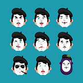 Mime face set. sleeping and evil emotion avatar. bewildered and sad pantomime emoji. mimic fear and happy icon. serious and winks. Vector illustration