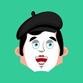 Mime happy emotion avatar. pantomime merry emoji. mimic face. Vector illustration