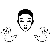 Mime Mask and Hands Silhouette