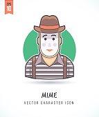 Mime performer Pantomime street comedian artist illustration