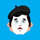 Mime sad emotion avatar. pantomime sorrowful emoji. mimic fsce. Vector illustration