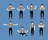 Mime set. Pantomime sad and yoga.  bewildered and angry. Mimic happy winks and thumb up. Vector illustration
