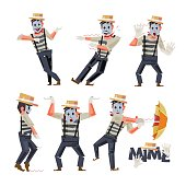mimes character design in funny action - vector
