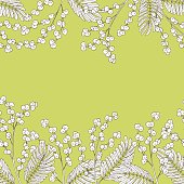 Mimosa graphic green sketch seamless background illustration vector