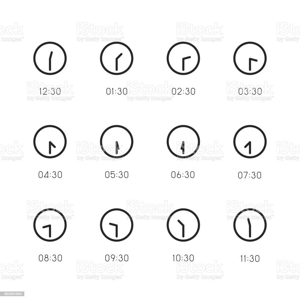 Ilustración de Ícono De Reloj De 30 Minutos Línea Serie y más banco ...
