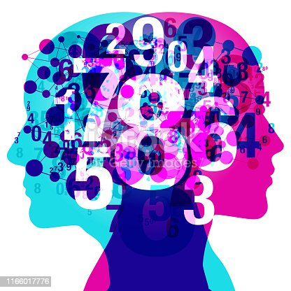 A Male and Female side silhouette profile overlaid with various blending semi-transparent numbers and connected circular shapes. Centred is a semi glowing Numerals - 1,2 ,3 ,4 ,5 ,6 ,7 ,8 ,9 and Zero