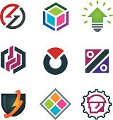 Mind bending attractive application design logo modern solution icon set