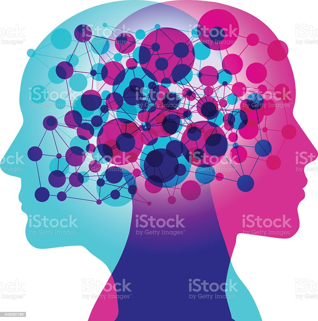 Mind Connection Illustration is composed of 4 separate labelled layers.  Communication stock vector