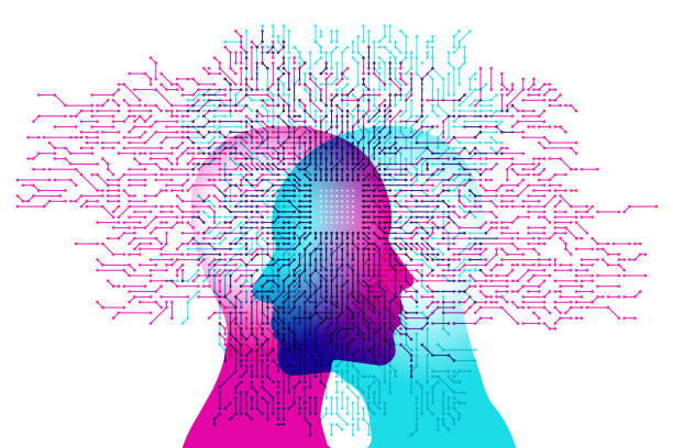 mind controlled a.i. - facial recognition stock illustrations