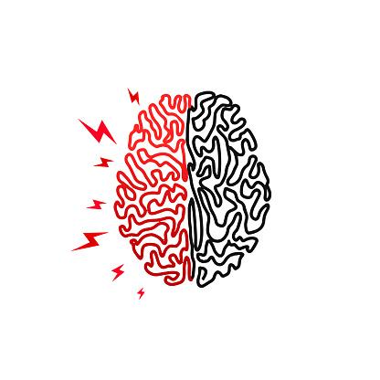 Human brain. Headache, stress, insanity. Human brain logo icon in line style on white background. Creative illustration concept symbol