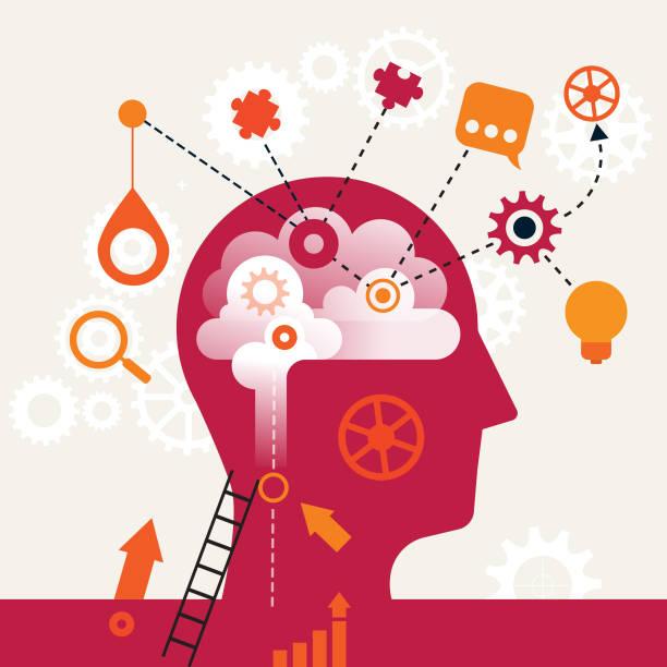 bildbanksillustrationer, clip art samt tecknat material och ikoner med tanke karta concept - brain magnifying