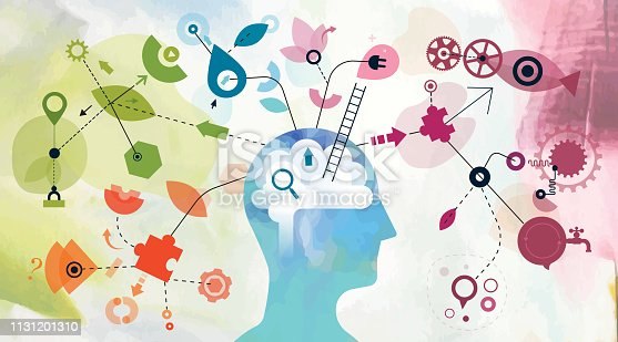 Illustration montage made from two different vectorised acrylic paintings and vector elements showing one person mind mapping.