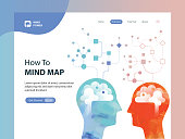 Web template depicting mind map concept. Illustration is made from vectorised acrylic painting combined with vector elements.