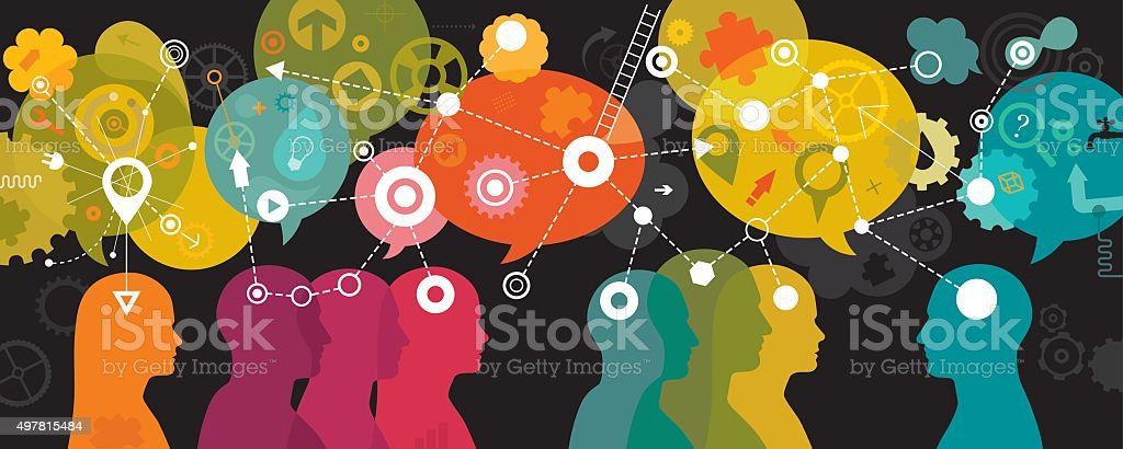 Mind Mapping Landscape On Dark Background vector art illustration