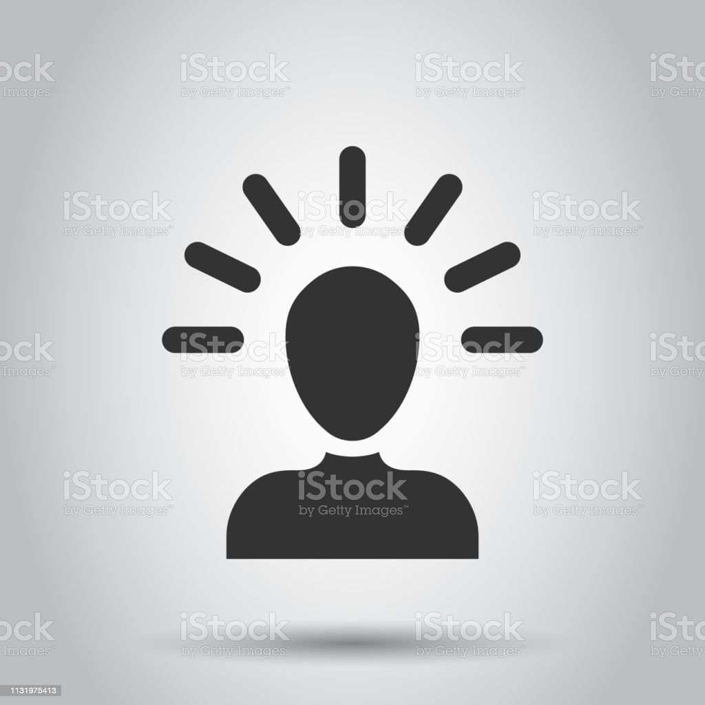 6721995eb Mind people icon in flat style. Human frustration vector illustration on  white background. Mind thinking business concept. - Illustration .