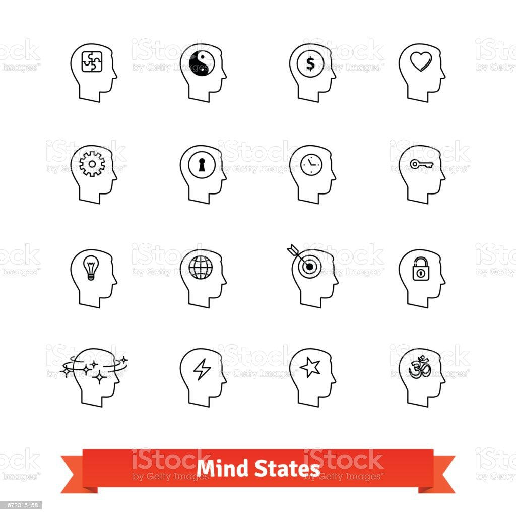 Mind states thin line art icons set vector art illustration