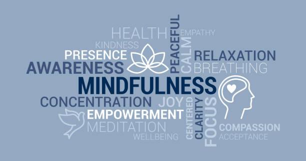 mindfulness and meditation tag cloud - mindfulness stock illustrations