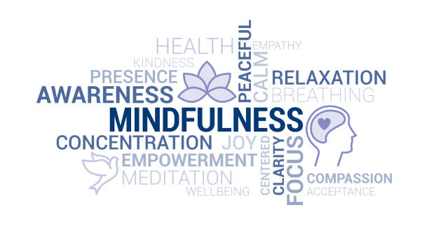 mindfulness and meditation tag cloud - mindfulness stock illustrations