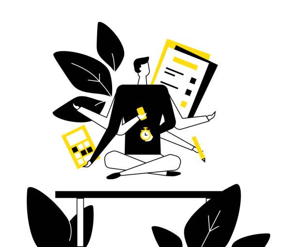 ilustrações, clipart, desenhos animados e ícones de mindfulness no trabalho-ilustração lisa do estilo do projeto - consciência negra