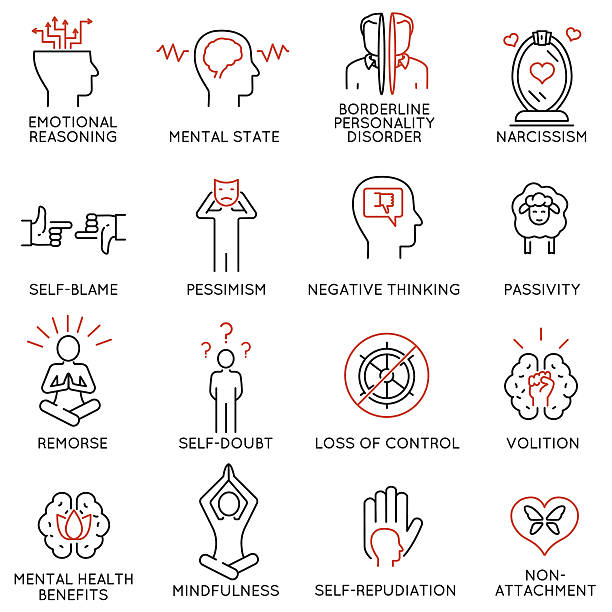 mindfulness, awareness, consciousness and mental conditions icons - 1 - achtsamkeit stock-grafiken, -clipart, -cartoons und -symbole