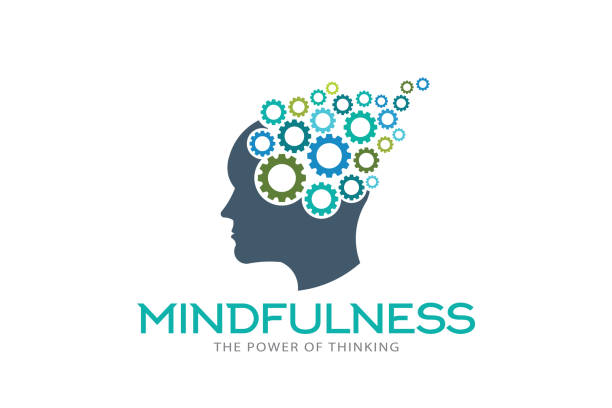 mindfulness brain imagination logo vector illustration - mindfulness stock illustrations