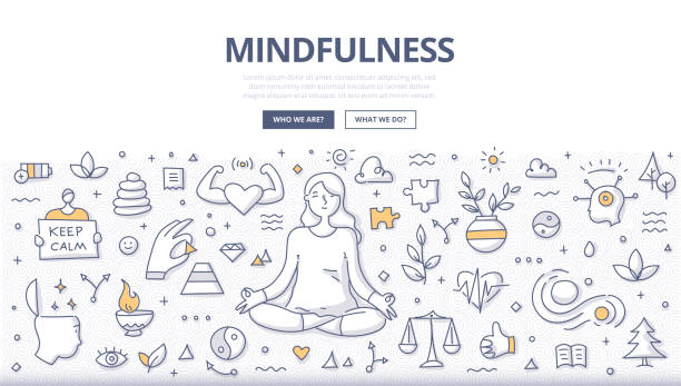 mindfulness doodle concept - mindfulness stock illustrations