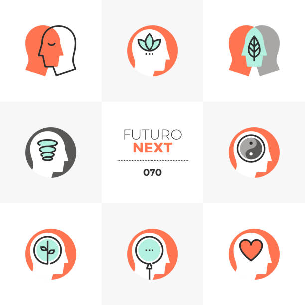 mindfulness futuro next icons - mindfulness stock illustrations