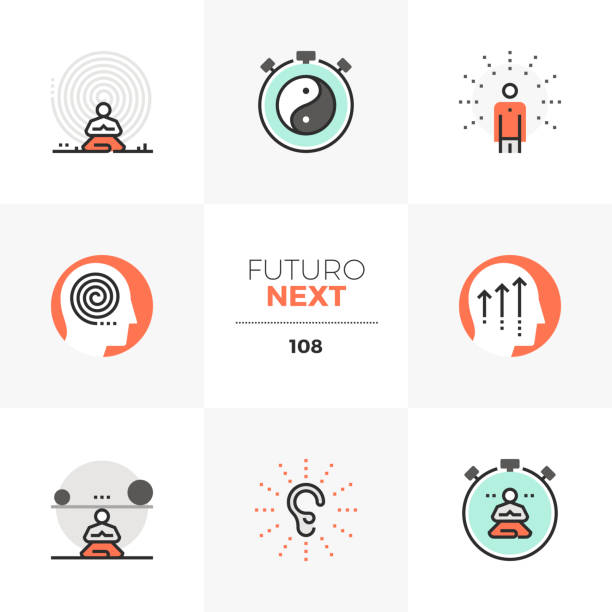 Mindfulness Futuro Next Icons Modern flat icons set of present moment meditation practice, inner peace. Unique color flat graphics elements with stroke lines. Premium quality vector pictogram concept for web, branding, infographics. attitude stock illustrations