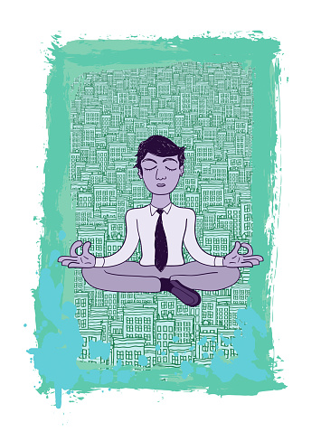 Mindfulness Meditating Business Man in a City