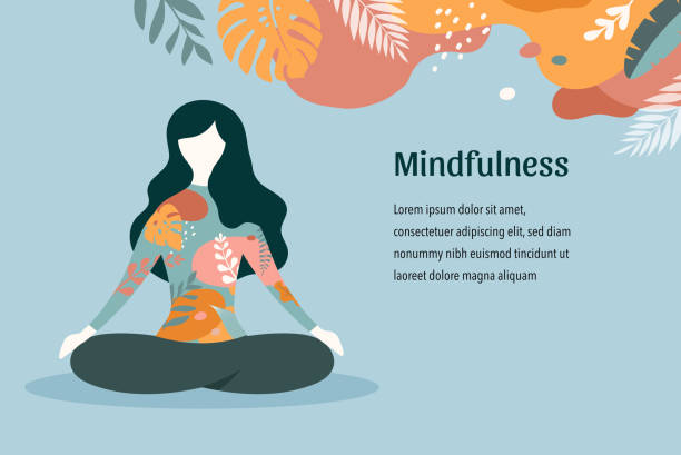 mindfulness, meditation and yoga background in pastel vintage colors with women sit with crossed legs and meditate. vector illustration - wellness stock illustrations