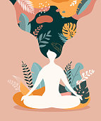 Mindfulness, meditation and yoga background in pastel vintage colors with women sit with crossed legs and meditate. Vector illustration