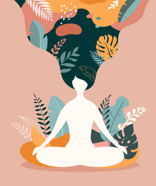 mindfulness, meditation and yoga background in pastel vintage colors with women sit with crossed legs and meditate. vector illustration - mindfulness stock illustrations