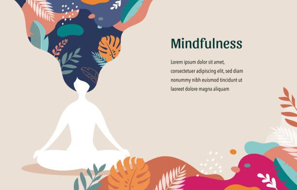 ilustrações, clipart, desenhos animados e ícones de mindfulness, meditação e fundo da ioga em cores pastel do vintage com as mulheres sentam-se com pés cruzados e meditam. ilustração do vetor - harmonia