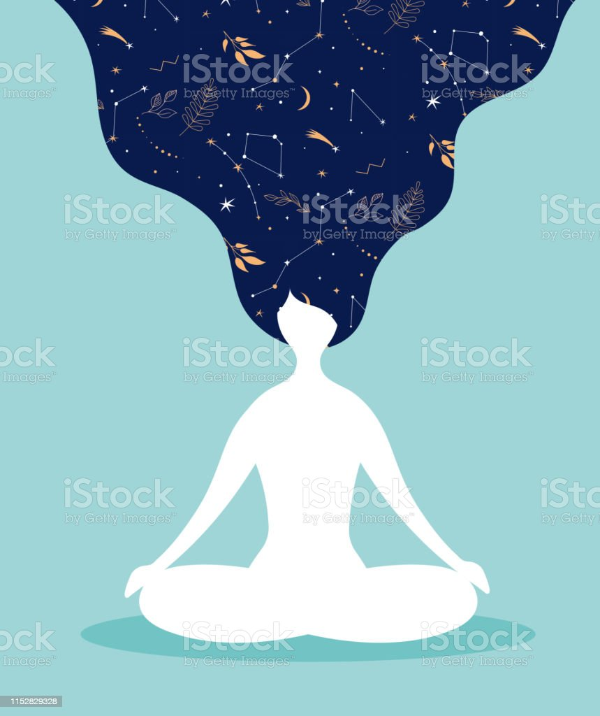 Mindfulness Meditation And Yoga Background In Pastel Vintage Colors With Women Sit With Crossed Legs And Meditate Vector Illustration Stock Illustration Download Image Now Istock