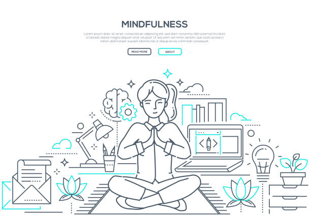 mindfulness - modern line design style web banner - mindfulness stock illustrations