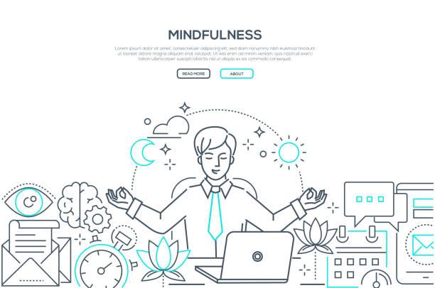 achtsamkeit-modernes line design stil web-banner - entspannungsmethoden stock-grafiken, -clipart, -cartoons und -symbole