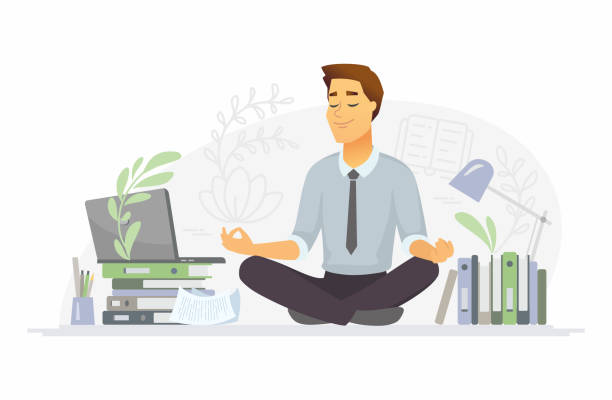 mindfulness - modern vector cartoon people characters illustration - mindfulness stock illustrations