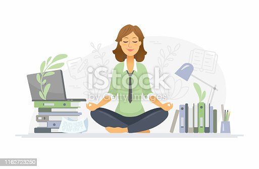 Mindfulness - modern vector cartoon people characters illustration on white background. A colorful composition with a woman meditating in lotus position at work in the office, trying to release stress