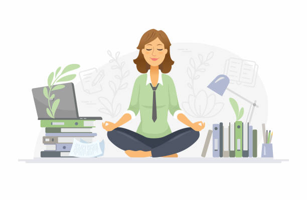 Mindfulness - modern vector cartoon people characters illustration vector art illustration