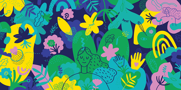 Mindfulness Vibrant Illustration With Hand Drawn Elements