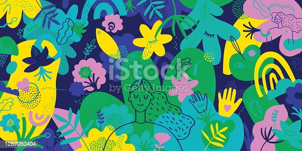 istock Mindfulness Vibrant Illustration With Hand Drawn Elements 1257050404