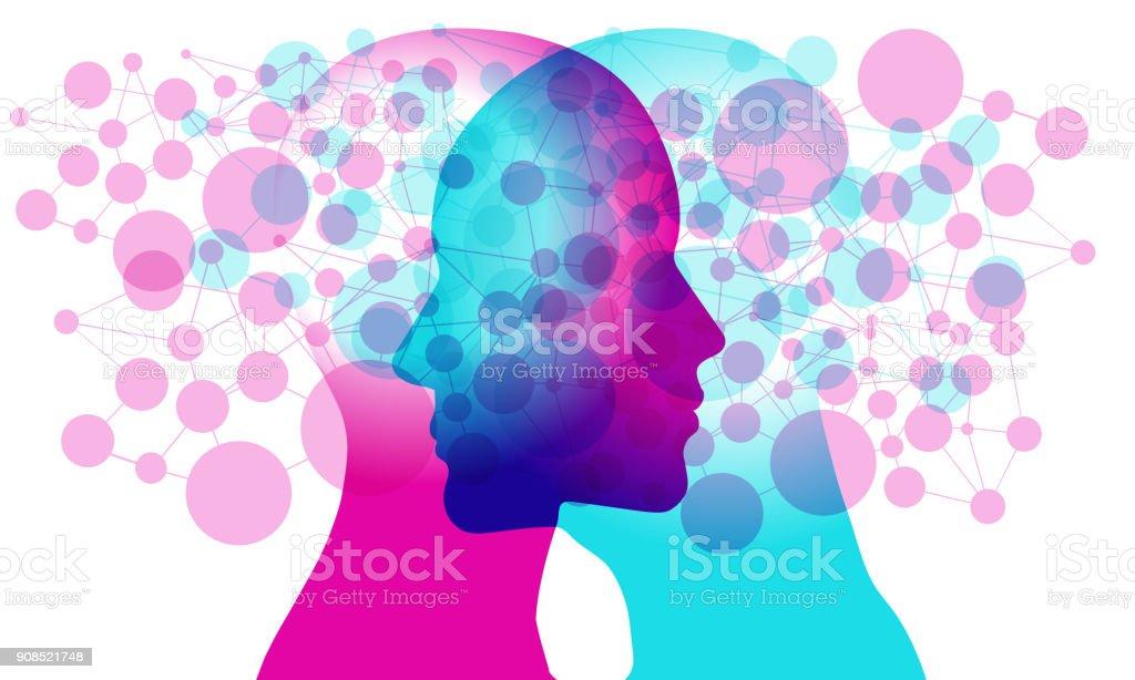 Minds Networked vector art illustration