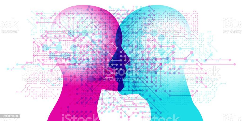 AI Minds vector art illustration