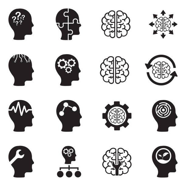Mindset Icons. Black Flat Design. Vector Illustration. Head, Mind, Brain, Thinking attitude stock illustrations