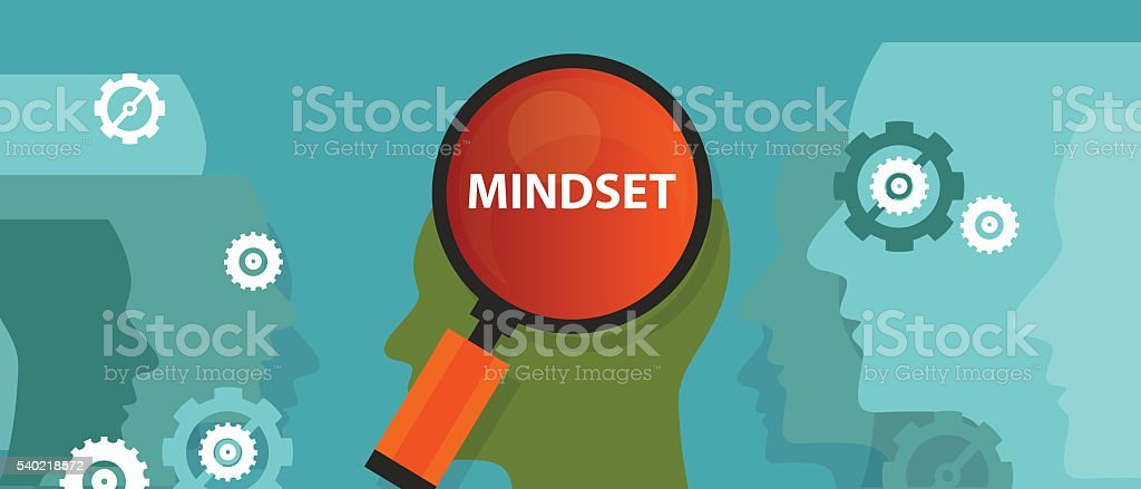 mindset positive inside people brain mental customer belief vector art illustration