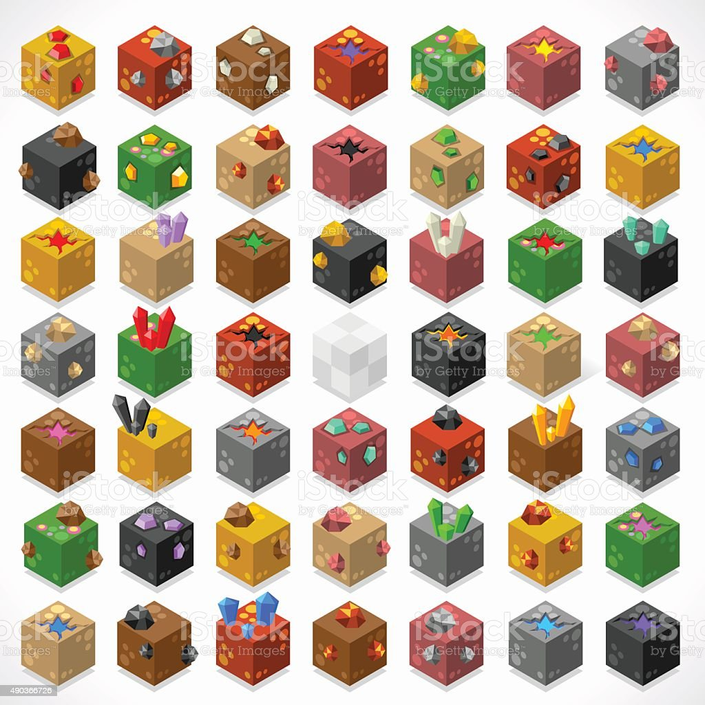 Mine Cubes 02 Elements Isometric vector art illustration